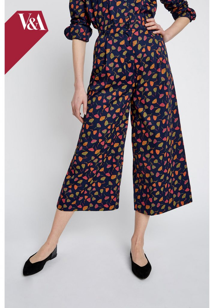 V&A Poppy Print Wide Leg Trousers organic cotton vegan