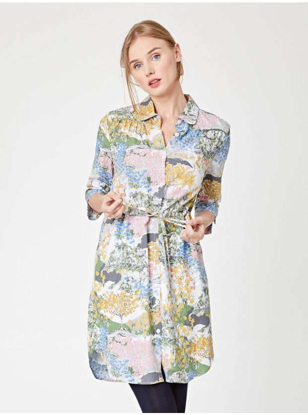 Vegan Meadow Tencel Printed Shirt Dress for women by thought