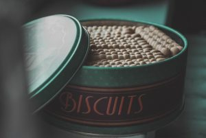 vegan biscuits in a green tin