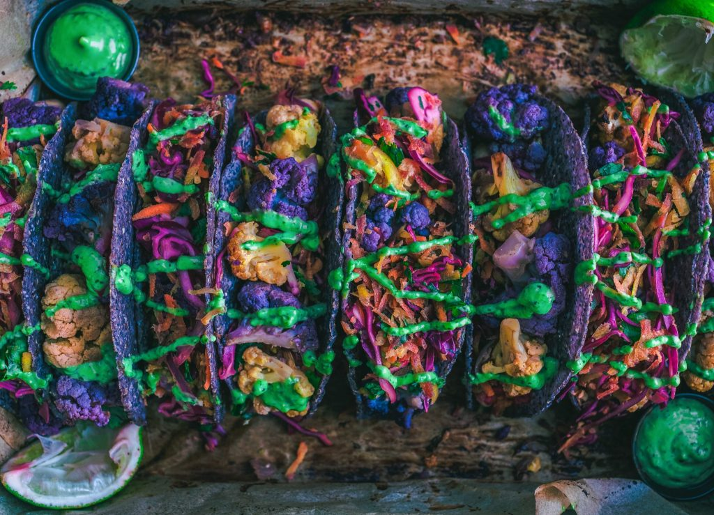 vegan colourful tacos meal prep