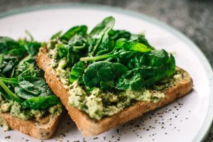 avocado and spinach on toast vegan breakfast