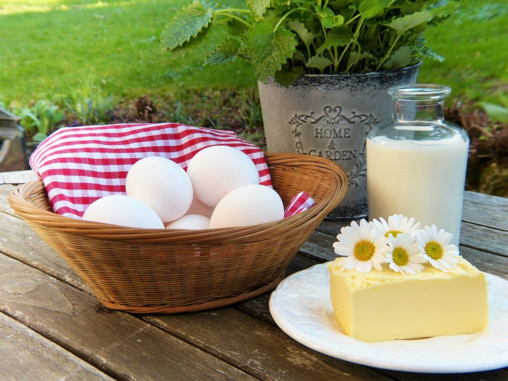 eggs, butter, milk, vegetarian setting