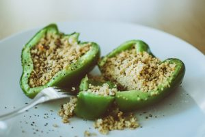 couscous inside green pepper