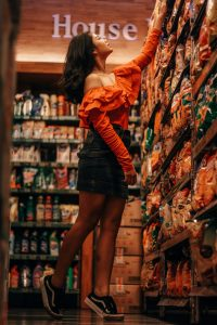 reading food labels in the supermarket