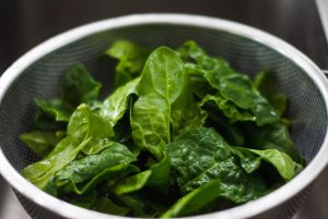 leafy green spinach for iron