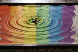 multi colour ripples in water