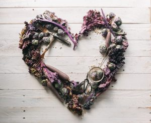 heart made from purple food