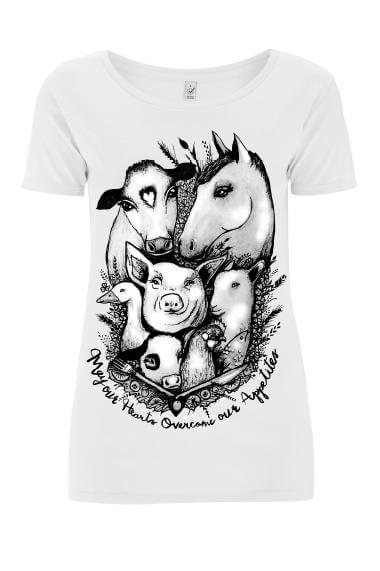 vegan activist clothes, Women's Tshirt : May Our Hearts Overcome Our Appetites