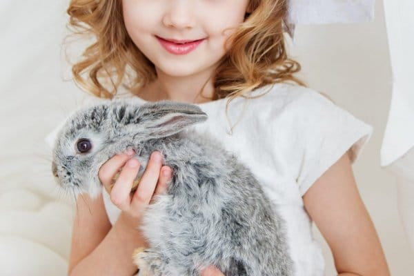 child with rabbit for easter gift