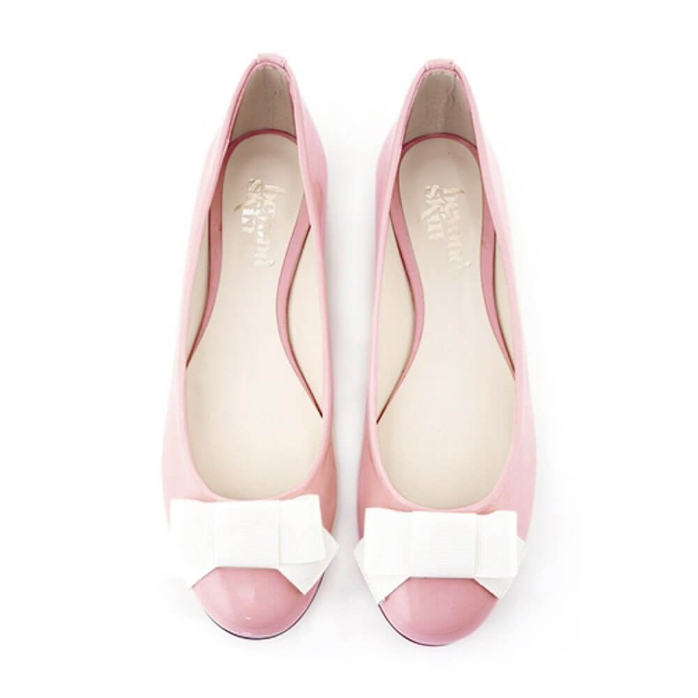 vegan spring shoes Bessy Pink Bow Flat Shoes