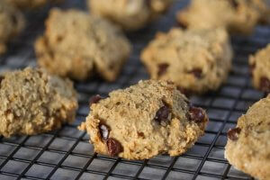 choc chip chickpea cookies for blog post from with extra veg