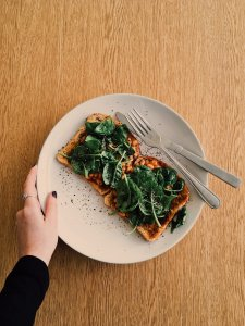 Going Vegan Through Coronavirus spinach on toast healthy nutrition